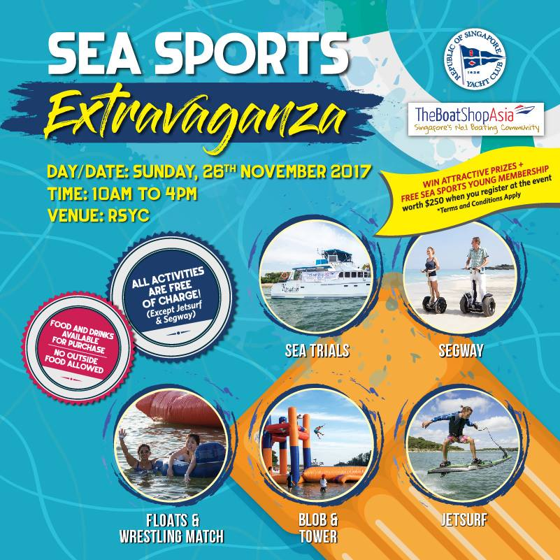 RSYC Sea Sports Extravaganze with FREE Young Membership Worth $250! [26 Nov 2017]