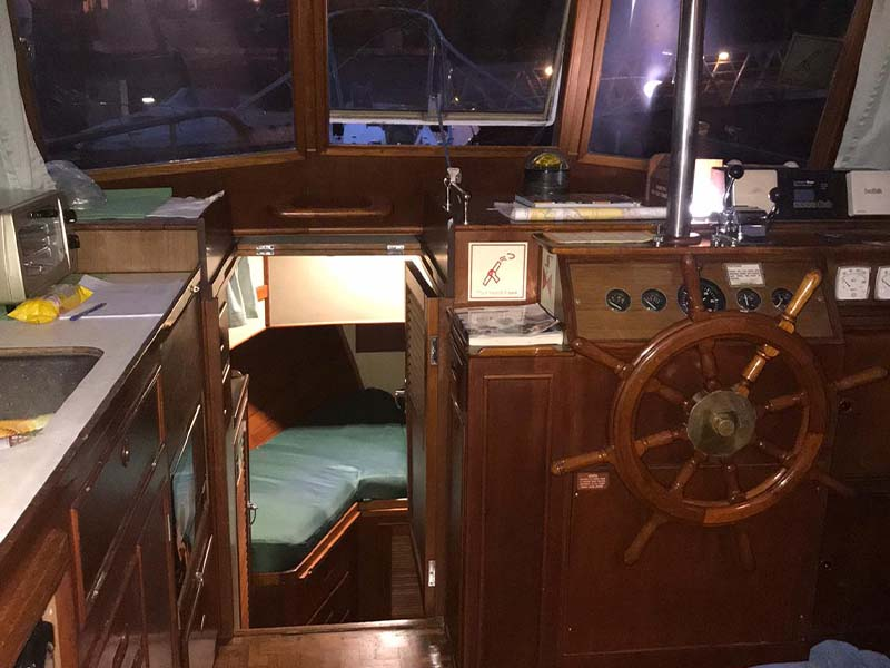 Lady Olivia Yacht Cabin Entrance | Grand Banks Classic | Singapore Yacht Charter
