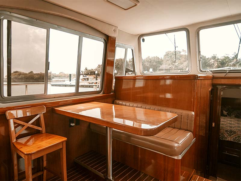 Veyron Yacht Saloon Dining Table | Luxury Trawler | Singapore Yacht Charter