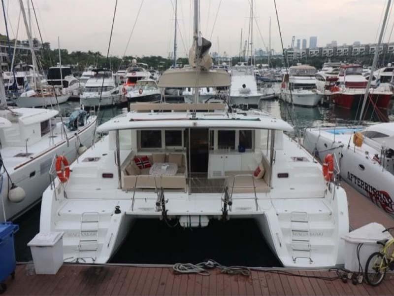 Waga Mari Yacht Stern   Lagoon 450 Sailing Catamaran   Singapore Yacht Charter