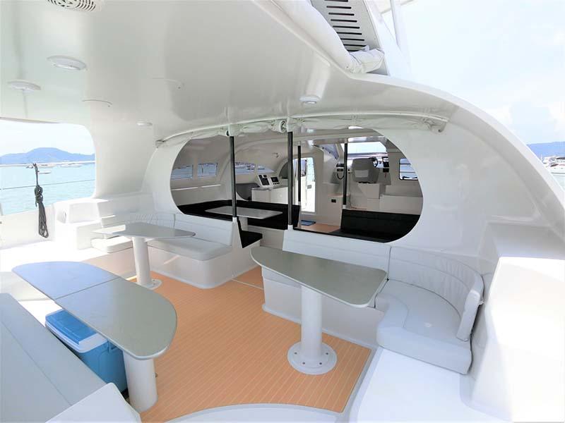 Mustang Yacht Aft Deck | Maserati Power Catamaran | Singapore Yacht Charter