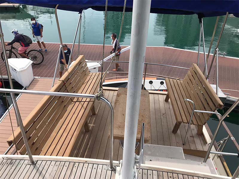 Lady Olivia Yacht Upper Deck | Grand Banks Classic | Singapore Yacht Charter