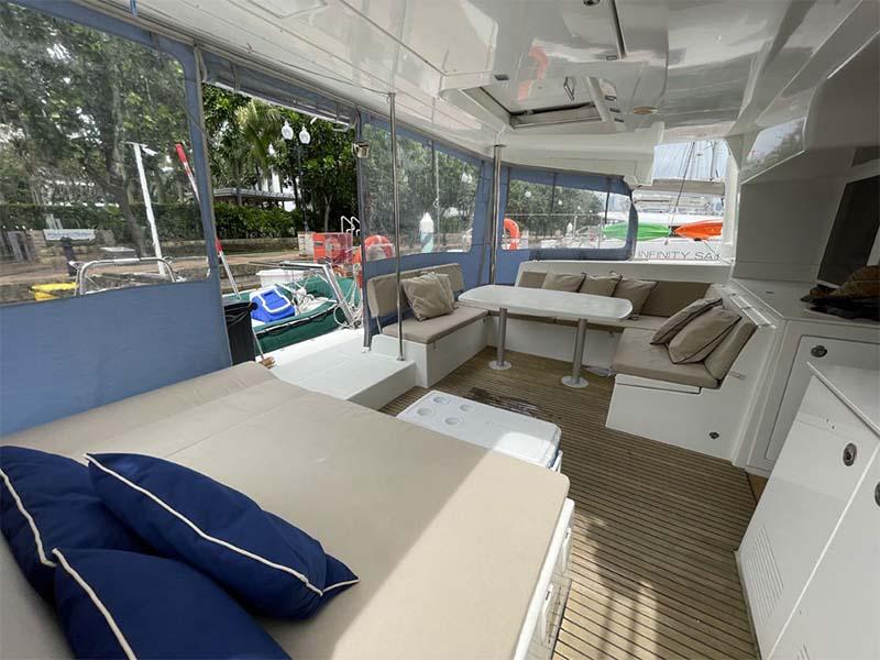 Waga Mari Yacht Aft Deck   Lagoon 450 Sailing Catamaran   Singapore Yacht Charter