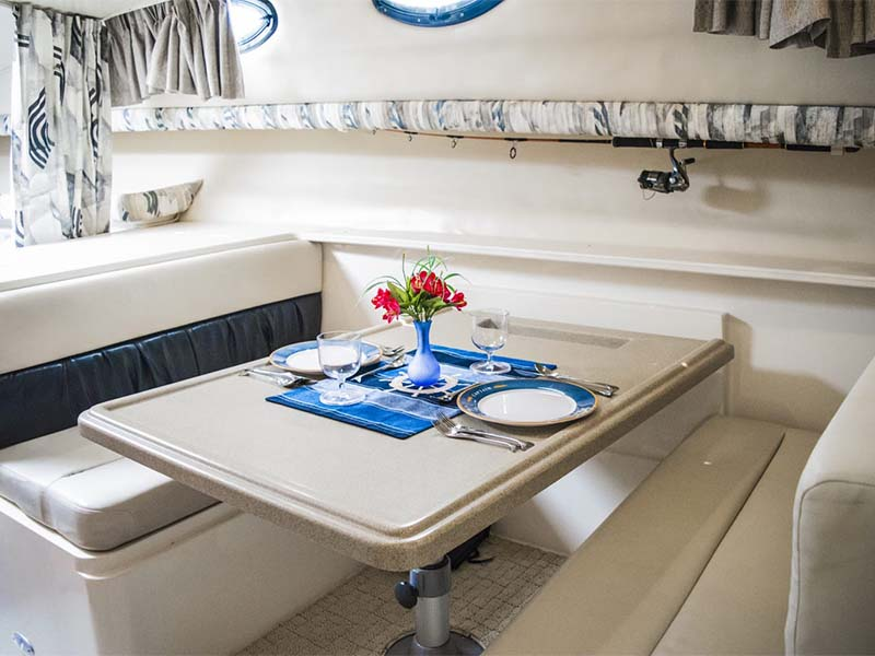 Artemis Fishing Boat Lounge with Dining Table   34ft Wellcraft   Singapore Yacht Charter