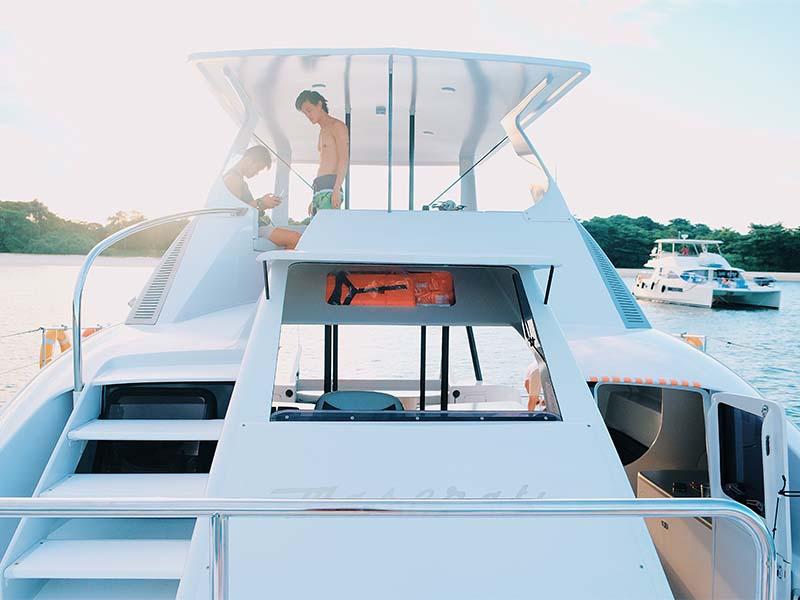 Mustang Yacht Front View | Maserati Power Catamaran | Singapore Yacht Charter