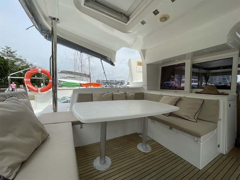Waga Mari Yacht Aft Deck Lounge   Lagoon 450 Sailing Catamaran   Singapore Yacht Charter
