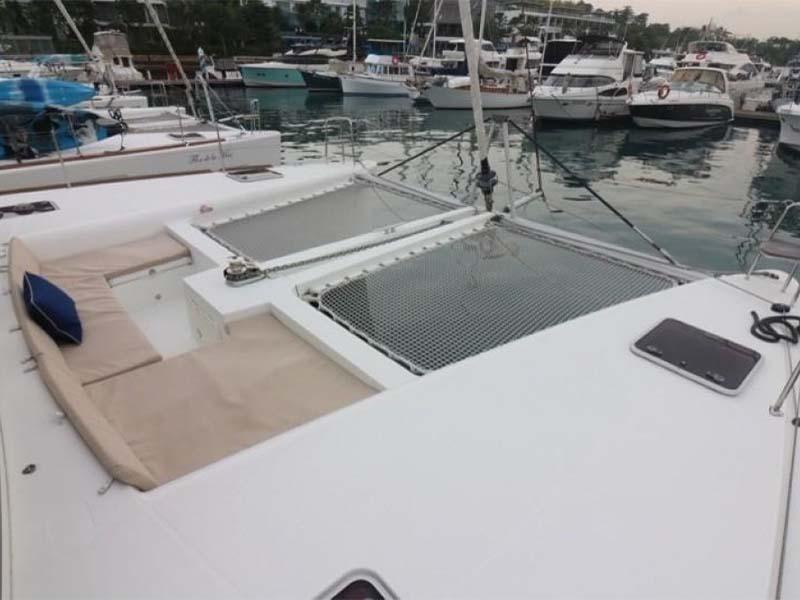 Waga Mari Yacht Bow   Lagoon 450 Sailing Catamaran   Singapore Yacht Charter