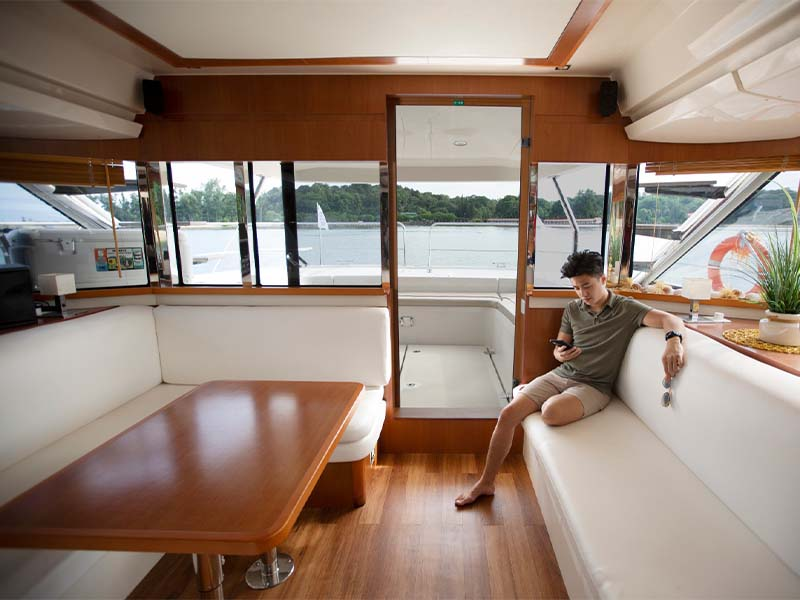 Synergy 1 Yacht Saloon Sofa Seats   Aquila 48 Catamaran   Singapore Yacht Charter
